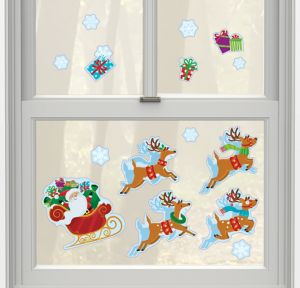 Santa Claus Christmas Cling Decals 15ct