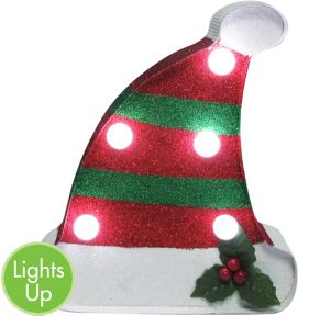 Glitter Light-Up Christmas Hat Marquee Sign