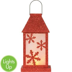 Light-Up LED Glitter Snowflake Lantern