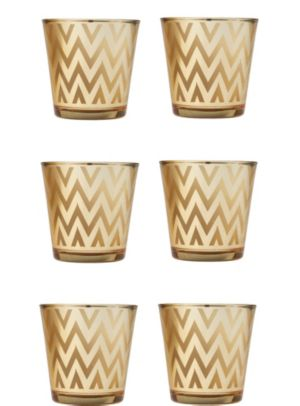 Large Gold Chevron Votive Candle Holders 6ct