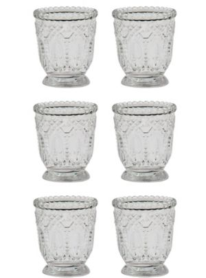 Clear Crystal-Cut Footed Votive Candle Holders 6ct