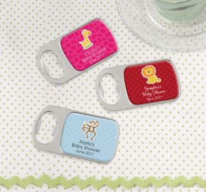 Personalized Baby Shower Bottle Openers - Silver (Printed Epoxy Label) (Sky Blue, Quatrefoil)