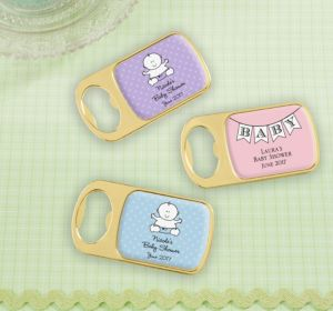 Personalized Baby Shower Bottle Openers - Gold (Printed Epoxy Label) (Bright Pink, Baby Blocks)