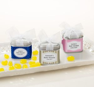 Personalized Baby Shower Favor Tins with Bows, Set of 12 (Printed Label) (Sky Blue, Mod Dots)