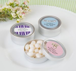 Personalized Round Candy Tins - Silver, Set of 12 (Printed Label) (Lavender, Mod Dots)