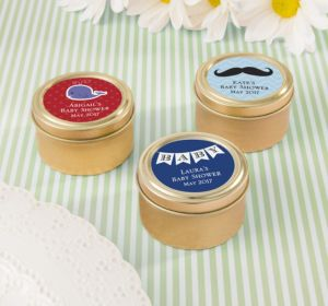 Personalized Baby Shower Round Candy Tins - Gold (Printed Label) (Sky Blue, Duck)