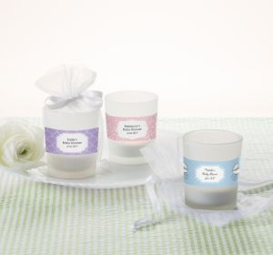Personalized Baby Shower Glass Votive Candle Holders (Printed Label) (Bright Pink, Pram)
