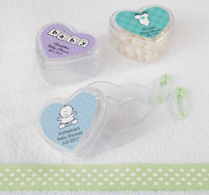 Personalized Baby Shower Heart-Shaped Plastic Favor Boxes, Set of 12 (Printed Label) (Lavender, Pram)