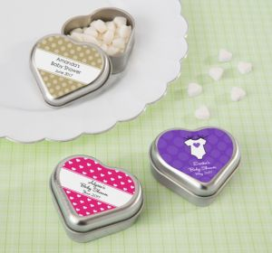 Personalized Baby Shower Heart-Shaped Mint Tins with Candy (Printed Label) (Lavender, Pram)