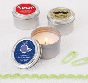 Personalized Baby Shower Candle Tins (Printed Label) (Lavender, Scallops)
