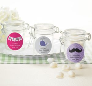 Personalized Baby Shower Small Glass Jars (Printed Label) (Silver, Mustache)