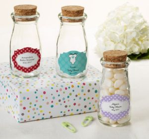 Personalized Baby Shower Glass Milk Bottles with Corks (Printed Label) (Lavender, Greek Key)