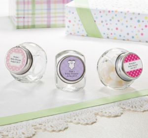 Personalized Baby Shower Glass Candy Jars (Printed Label) (Lavender, Mustache)