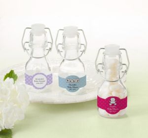 Personalized Baby Shower Glass Swing Top Bottles (Printed Label) (Lavender, Polka Dots)