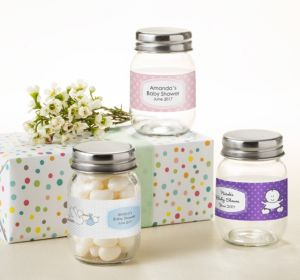 Personalized Baby Shower Mini Glass Mason Jars (Printed Label) (Sky Blue, Mod Dots)