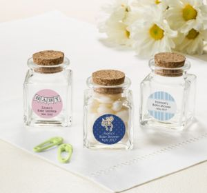 Personalized Baby Shower Small Glass Bottles with Corks (Printed Label) (Sky Blue, Quatrefoil)
