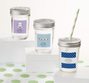 Personalized Baby Shower Mason Jars with Daisy Lids (Printed Label) (Robin's Egg Blue, Stork)