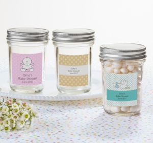 Personalized Baby Shower Mason Jars with Solid Lids (Printed Label) (Pink, Mustache)