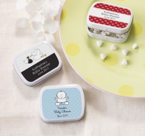 Personalized Baby Shower Mint Tins with Candy (Printed Label) (Red, Mustache)