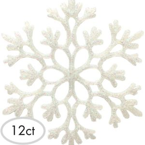Glitter White Snowflake Ornaments 12ct