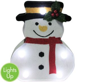 Glitter Light-Up Snowman Marquee Sign