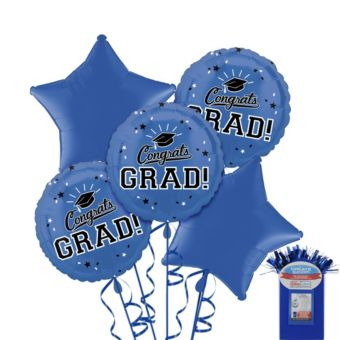 Royal Blue Graduation Balloon Bouquet 5pc