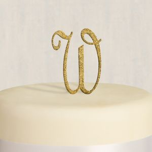 Rhinestone Gold Monogram W Cake Topper