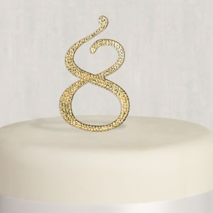 Rhinestone Gold Number 8 Cake Topper