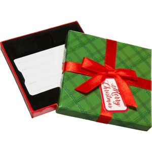 Green Plaid Christmas Gift Card Holder Box
