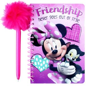 Minnie Mouse Notebook with Marabou Pen