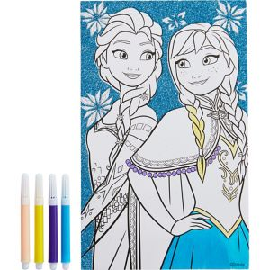 Glitter Frozen Coloring Sheet with Markers