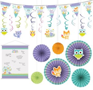 Welcome Baby Woodland Decorations Shower Kit