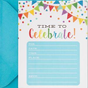 Glitter Rainbow Pennant Invitations 20ct