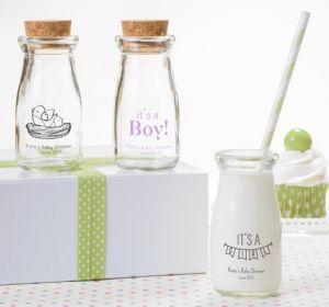 Personalized Baby Shower Glass Milk Bottles with Corks (Printed Glass) (Pink, Stork)