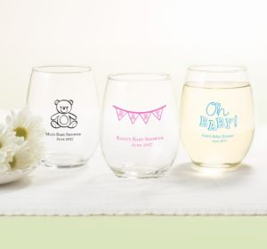 Personalized Baby Shower Stemless Wine Glasses 15oz (Printed Glass) (Bright Pink, My Little Man - Mustache)