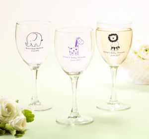 Personalized Baby Shower Wine Glasses (Printed Glass) (Bright Pink, Monkey)