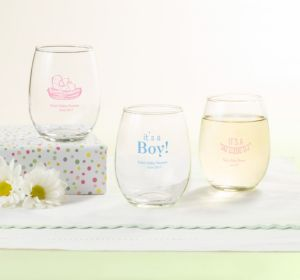 Personalized Baby Shower Stemless Wine Glasses 9oz (Printed Glass) (Bright Pink, My Little Man - Mustache)