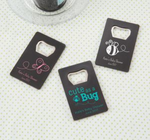 Personalized Baby Shower Credit Card Bottle Openers - Black (Printed Plastic) (Pink, Cute As A Button)