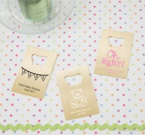 Personalized Baby Shower Credit Card Bottle Openers - Gold (Printed Metal) (Lavender, Cute As A Button)