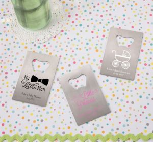 Personalized Baby Shower Credit Card Bottle Openers - Silver (Printed Metal) (Robin's Egg Blue, Cute As A Button)