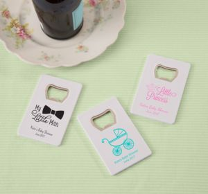 Personalized Baby Shower Credit Card Bottle Openers - White (Printed Plastic) (Gold, My Little Man - Mustache)