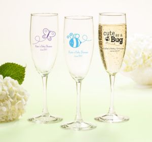 Personalized Baby Shower Champagne Flutes (Printed Glass) (Bright Pink, Bird Nest)