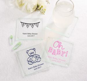 Personalized Baby Shower Glass Coasters, Set of 12 (Printed Glass) (Bright Pink, Bird Nest)