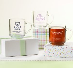 Personalized Baby Shower Glass Coffee Mugs (Printed Glass) (Robin's Egg Blue, Umbrella)
