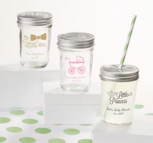 Personalized Baby Shower Mason Jars with Daisy Lids, Set of 12 (Printed Glass) (Black, Pram)