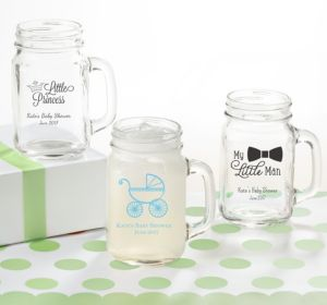 Personalized Baby Shower Mason Jar Mugs (Printed Glass) (Bright Pink, Bird Nest)