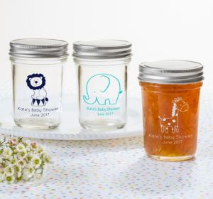 Personalized Baby Shower Mason Jars with Solid Lids (Printed Glass) (Red, Stork)