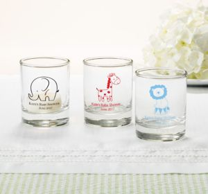 Personalized Baby Shower Shot Glasses (Printed Glass) (Robin's Egg Blue, Bird Nest)