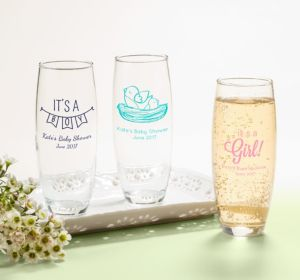 Personalized Baby Shower Stemless Champagne Flutes (Printed Glass) (Bright Pink, Bird Nest)