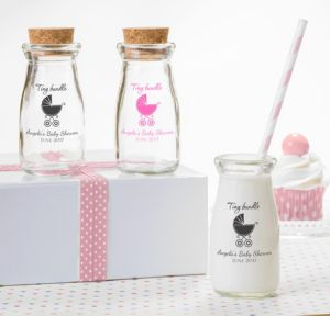 Personalized Baby Shower Glass Milk Bottles with Corks (Printed Glass) (Pink, Tiny Bundle)